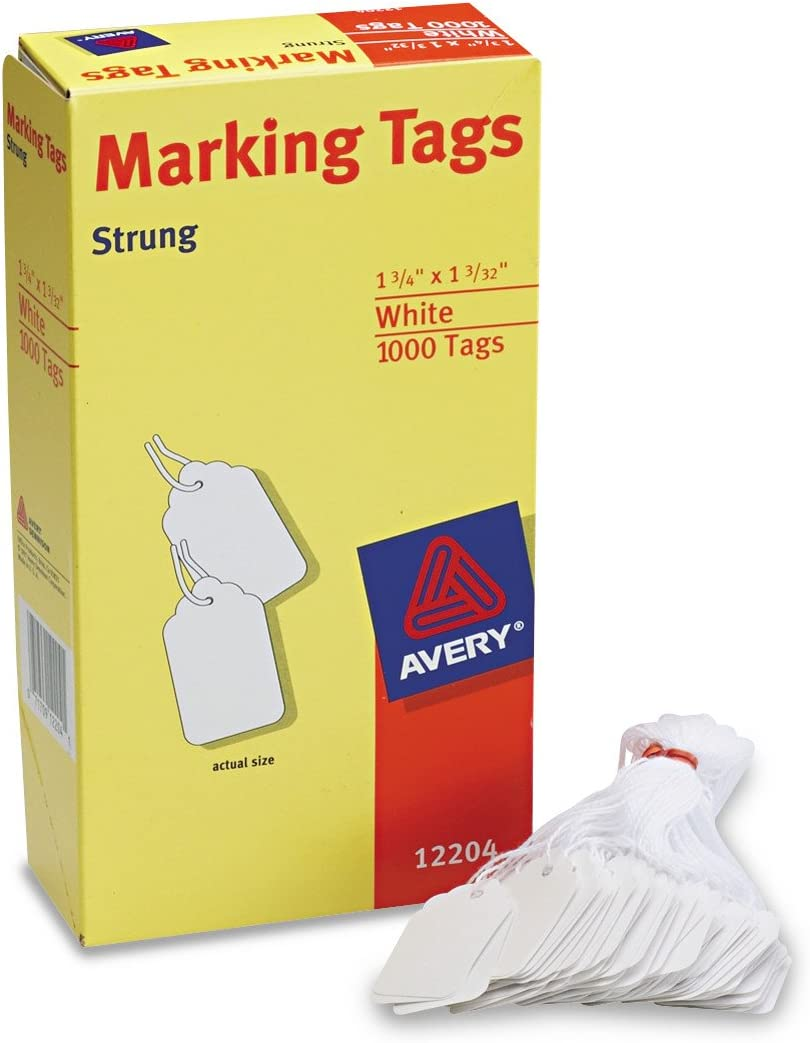 AVERYWhite Marking Tags Strung, Pack of 1000 (12204),