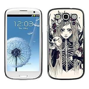 MobileHut / Samsung Galaxy S3 I9300 / Skeleton Girl Bride Woman Floral / Delgado Negro Plástico caso cubierta Shell Armor Funda Case Cover