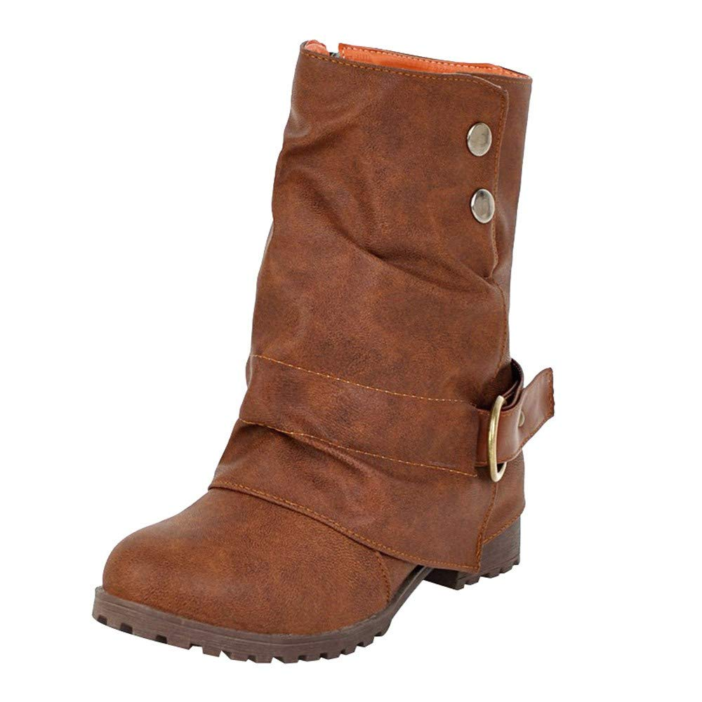 43ee9c8a91e618 Amazon.com  Winter Warm Short Leather Boots - Womens Casual Buckle Low  Square Heel Middle Boots Patchwork Shoes Size 5.5-9.5  Clothing