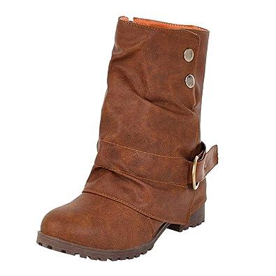 a12ca7a0b8b82f Mode Frauen Warme Kurze Lederstiefel Schnalle Kunstleder Patchwork Schuhe