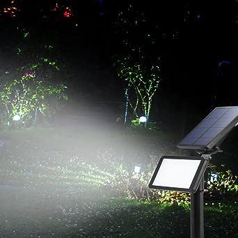 Foco solar de jardín, 48 LED, foco inalámbrico nocturno para Navidad, jardín, escalera exterior, patio: Amazon.es: Iluminación