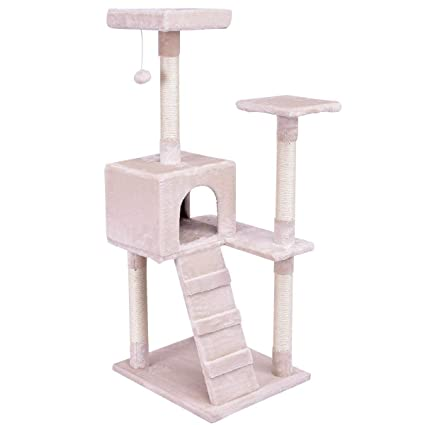 81947a8a5641 Tangkula Cat Tree Furniture Stury 3 Level Kitty Kitten Tower Condo Climber  Bed Perch with Scratching Post Kitty Play House Activity Tree w/Ladder, 52  inch