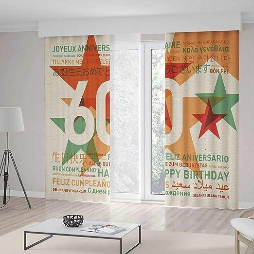 ALUONI Cortinas para Ventana, decoración de 60 cumpleaños ...