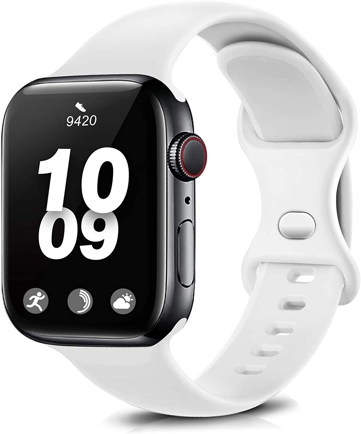 Coinit Sport Band Compatible with Apple Watch Bands 38mm 40mm 42mm 44mm, Soft Silicone Replacement Wristband Compatible with iWatch Series 6 5 4 3 2 1 Women Men White 42mm/44mm S/M