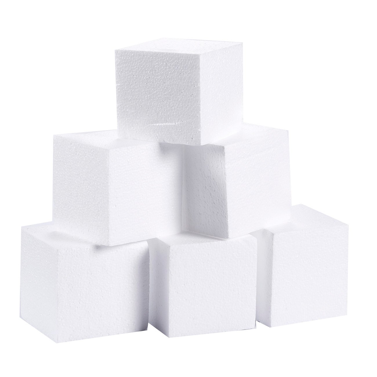 Craft Foam Cube - 6-Pack Square Polystyrene Foam Block Foam Brick for Sculpture, Modeling, DIY Arts and Crafts - White, 4 x 4 x 4 inches Juvale
