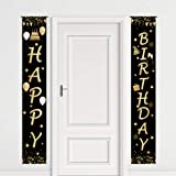 Funnytree Happy Birthday Theme Party Welcome Porch Sign Black and Gold Dots Glitter Balloons Outdoor Indoor Banner Polyester