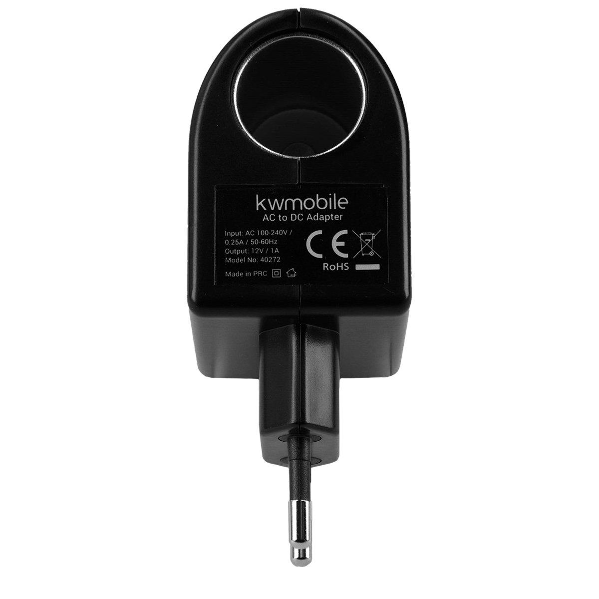 kwmobile Spannungswandler mit 230V auf 12 V und 1.000 mA Zigarettenanz/ünder-Steckdose-Adapter Umwandler mit 12 Watt