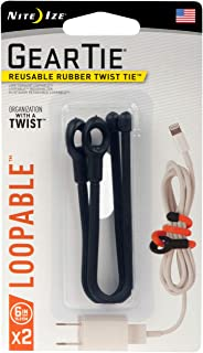 product image for Nite Ize Gear Tie Loopable, The Original Reusable Rubber Twist Tie With Sturdy Integrated Loop, 6-Inch, Black, 2 Pack, Made in the USA