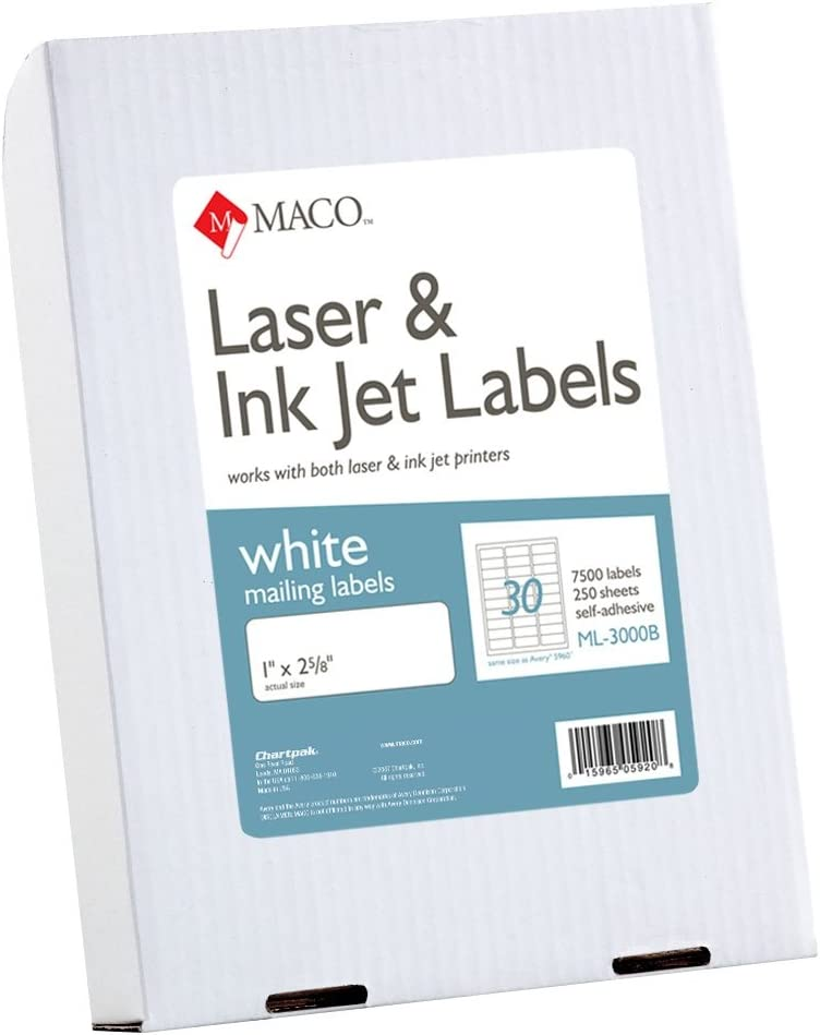 MACO Laser/Ink Jet White Address Labels, 1 x 2-5/8 Inches, 250 Sheets, 7500 Per Box (ML-3000B) : Office Products