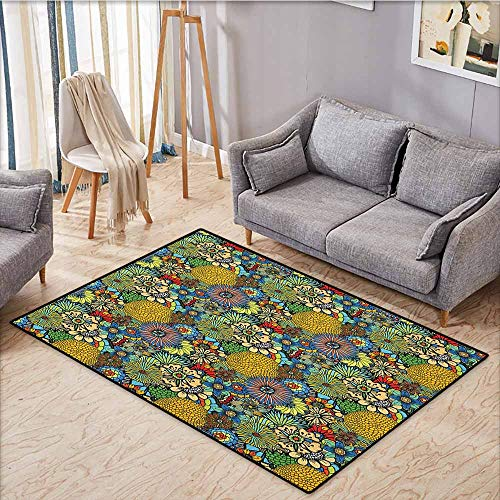(Indoor/Outdoor Rug,Garden Art,Whimsical Florist Pattern with Doodle Funny Plants Artistic Rich Summer Nature,Anti-Slip Doormat Footpad Machine Washable,3'3