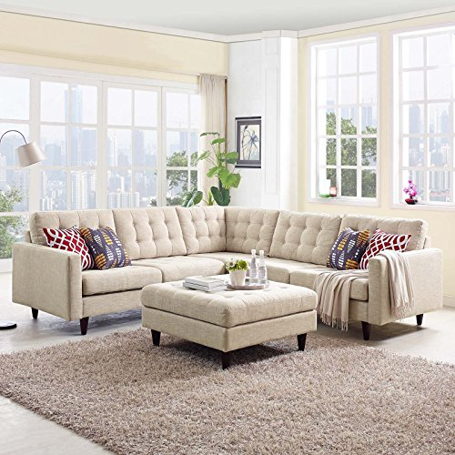 Modway Empress Mid-Century Modern Upholstered Fabric Sectional Sofa Set In Beige