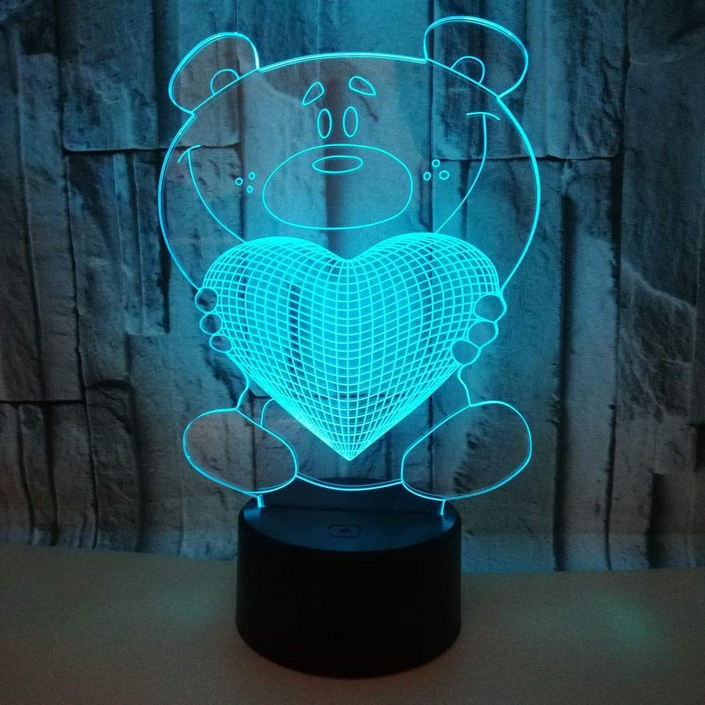 3D Night Light LED Illusion Lamp 7 Colors Gradually Changing Love Bear Light USB Touch Switch Decorative Bedside Lamp Remote Control for Boys Girls Toys Gifts ( Color : Black , Size : Remote control )