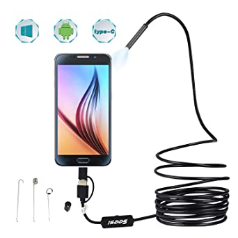 Mac Windows PC USB Endoscope 3 in 1 Borescope 5.5mm Waterproof Snake Inspection Camera Semi-Rigid with 6 Adjustable LEDs for OTG Android Phones Notebooks