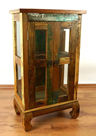 Colourful Teak Wood Cabinet with Glass doors, made from Reclaimed Boat Wood,  Handmade Java