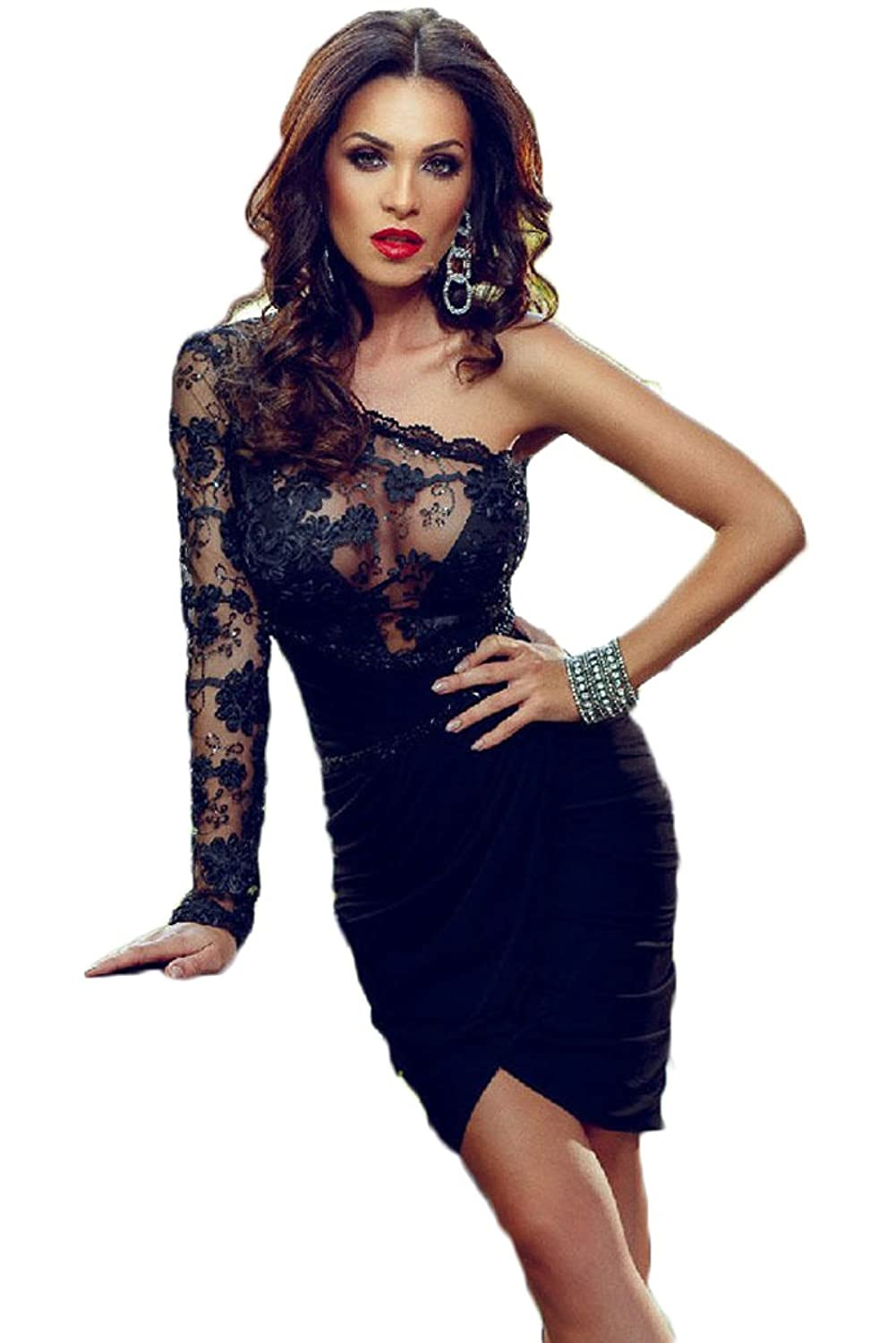 Chupeng Women's One Shoulder Long Sleeve Black Lace Mini Short Prom Party Dresses