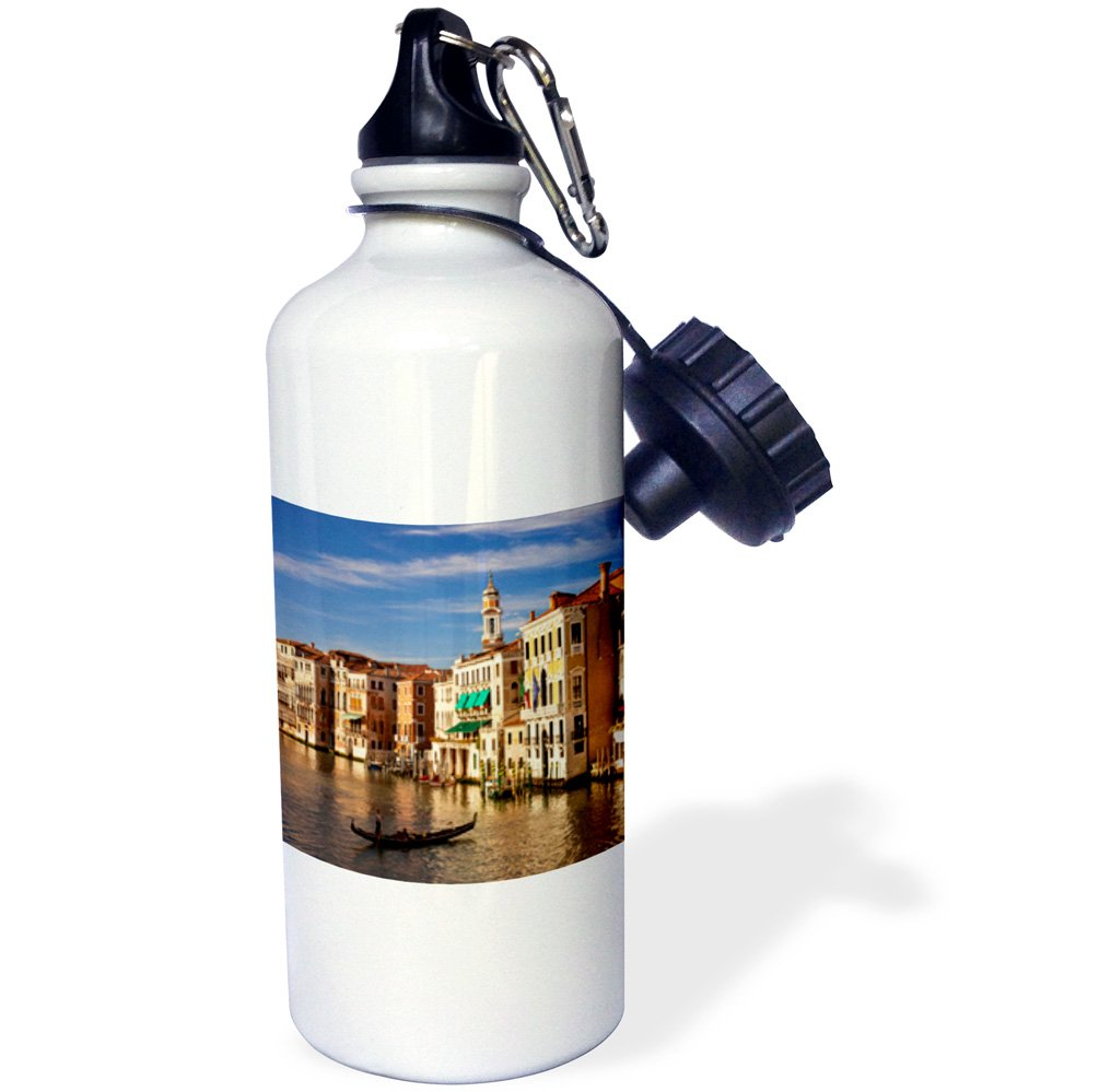 3dRose wb_137512_1 ''Grand Canal from Rialto Bridge, Venice, Italy EU16 BJN0012 Brian Jannsen'' Sports Water Bottle, 21 oz, White