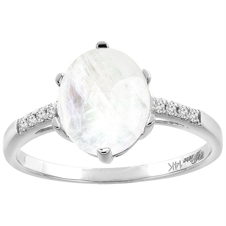 14K White Gold Natural Rainbow Moonstone & Diamond Ring Oval 10×8 mm, sizes 5-10