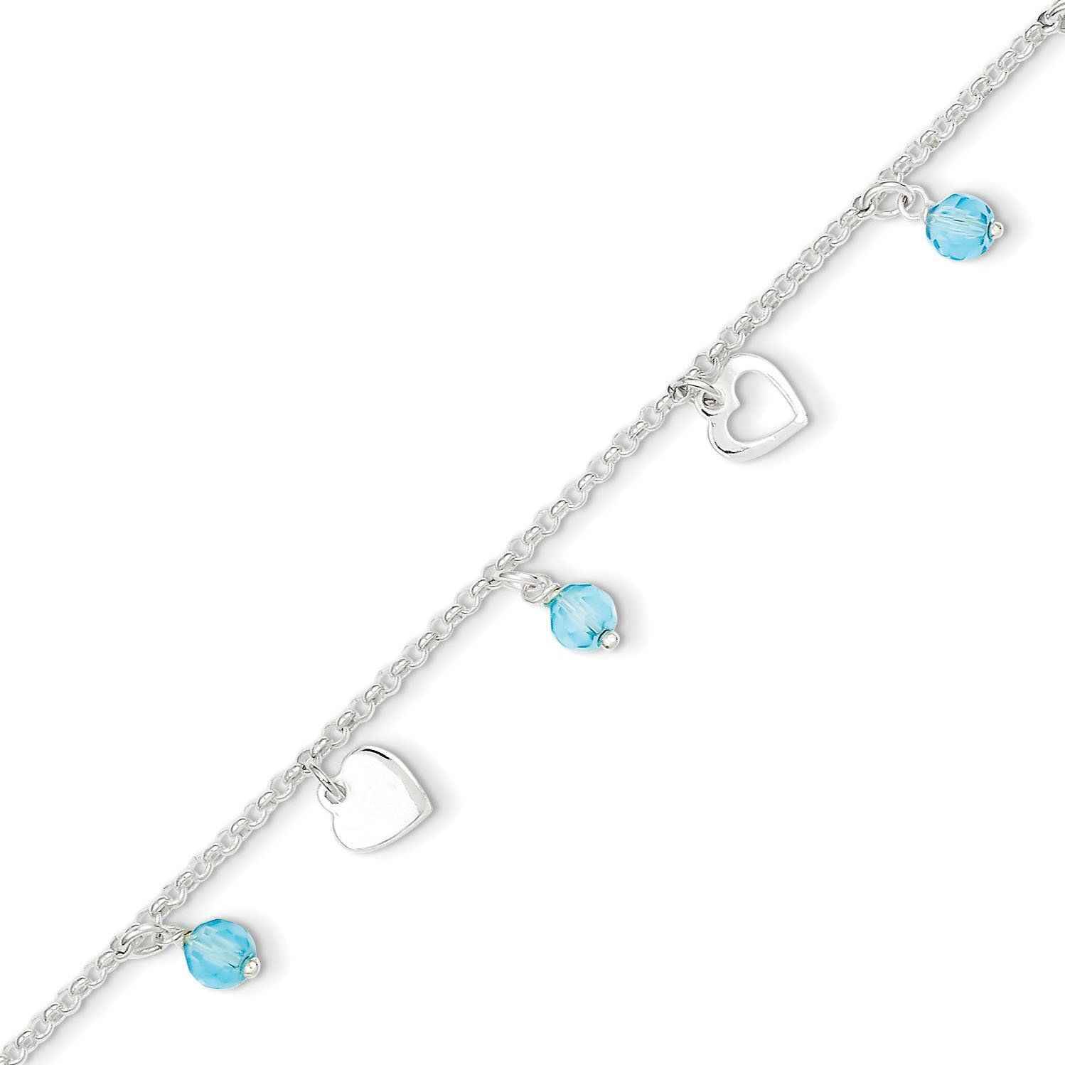 West Coast Jewelry Sterling Silver Polished Heart and Blue Glass with 1 Inch Ext. Anklet - 9 Inches Long