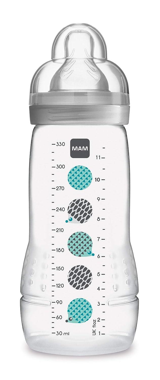 Baby Trinkflasche inklusive MAM Sauger Gr/ö/ße 2 aus SkinSoft Silikon 330 ml 4+ Monate MAM Easy Active Trinkflasche neutral Milchflasche mit ergonomischer Form