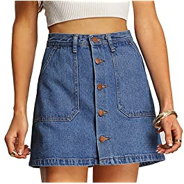 SheIn Women's Button Front Denim A-Line Short Skirt