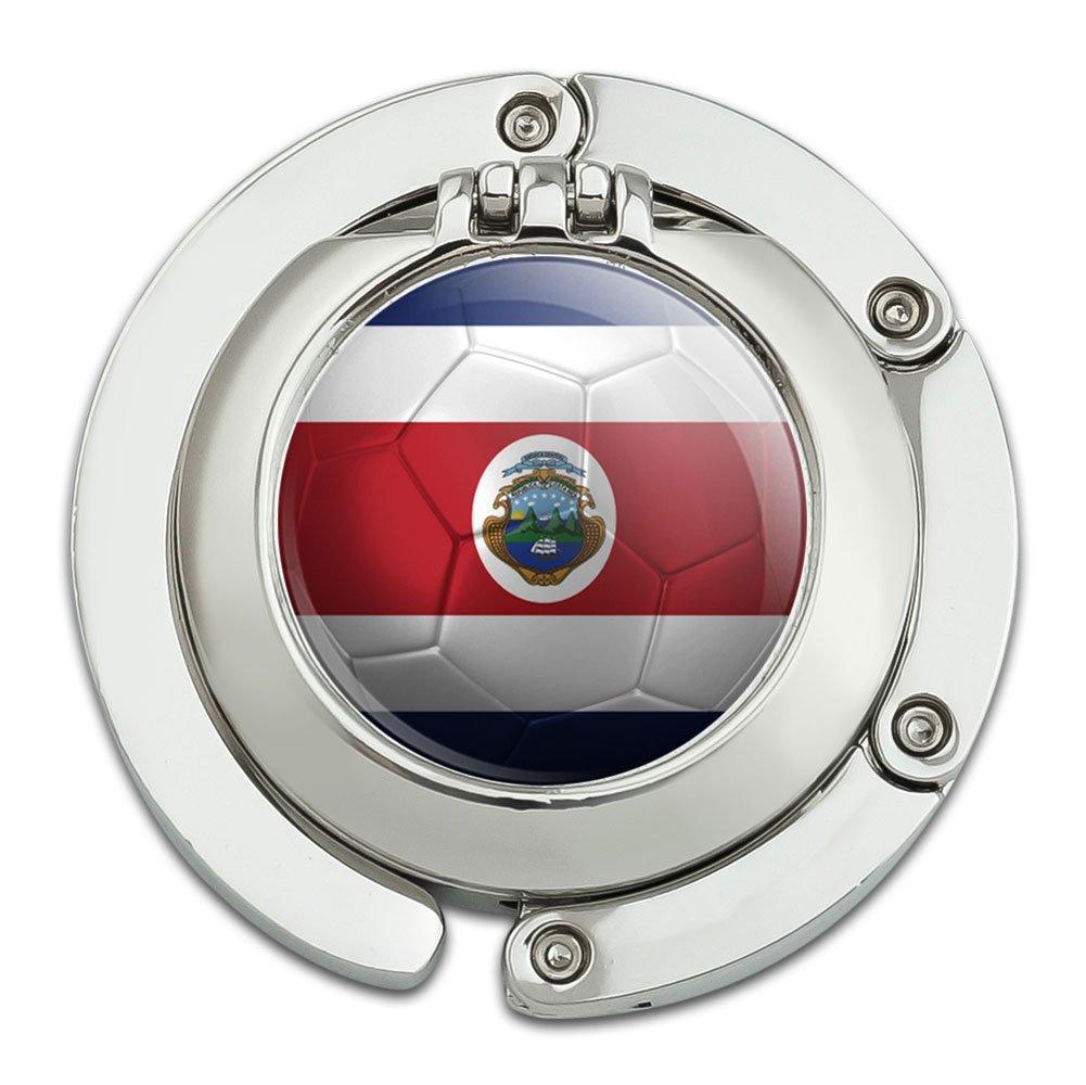 Costa Rica Flag Soccer Ball Futbol Football Foldable Table Bag Purse Caddy Handbag Hanger Holder Hook with Folding Compact Mirror