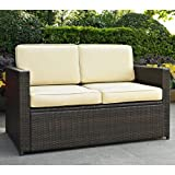Crosley Furniture Palm Harbor Outdoor Wicker Loveseat with Cushions - Brown