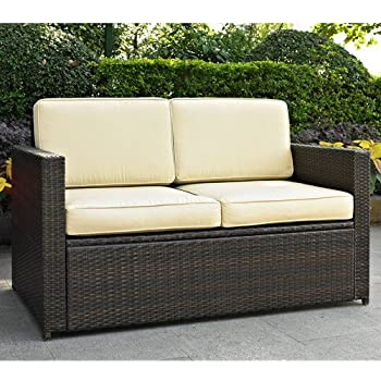 Awesome Crosley Furniture Palm Harbor Outdoor Wicker Loveseat With Cushions   Brown