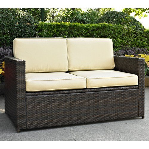 Crosley Furniture Palm Harbor Outdoor Wicker Loveseat with Cushions - Brown (Outdoor Loveseats)