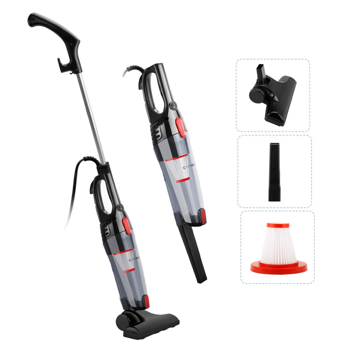 Exmate Vacuum Cleaner Corded Stick Vacuum 2 in 1 Handheld Vacuum, 800W 12KPa Upright Bagless Vac, Ultra Lightweight with HEPA Filter and Crevice Tool, Versatile for Carpet Hard Floor Pet Hair Cleaning