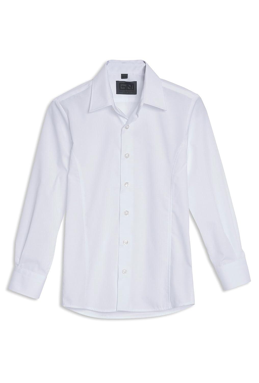 Gato Negro Langärmliges Jungen-Hemd Einfarbig