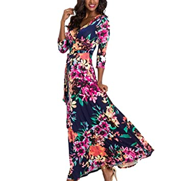 Dresses, Women Floral Print Maxi Dress, Summer Boho Style Beach Long ...
