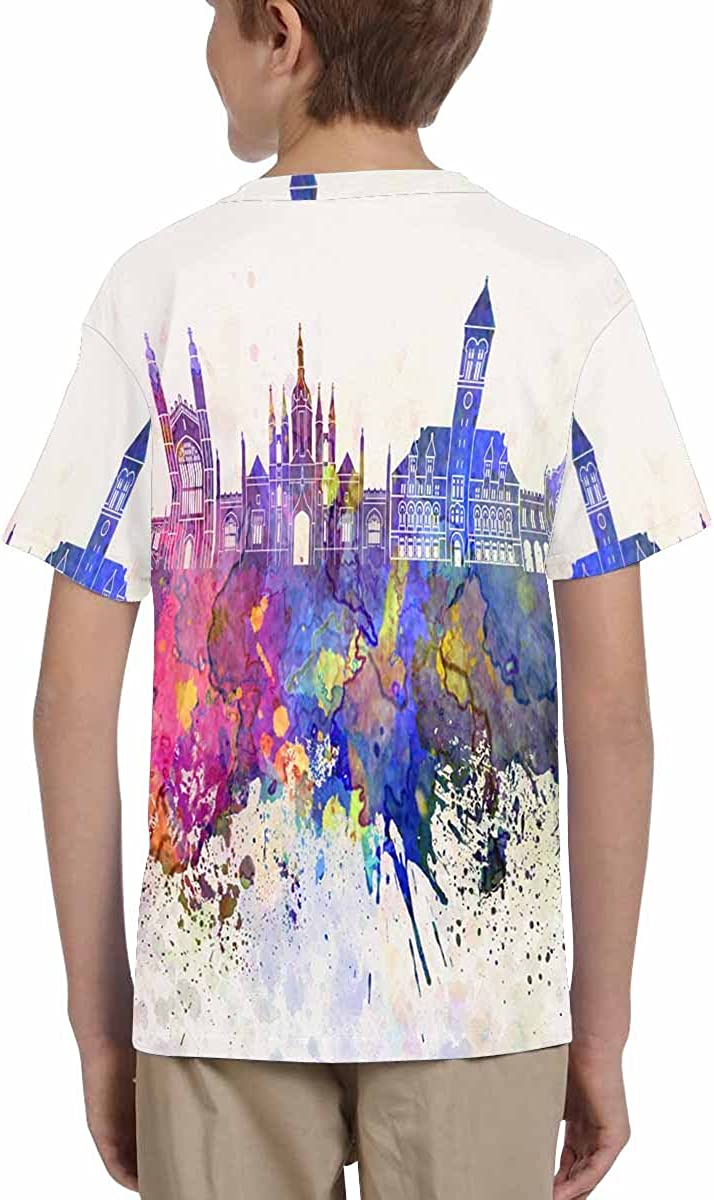 INTERESTPRINT Cambridge Skyline in Watercolor Youth T-Shirts XS-XL