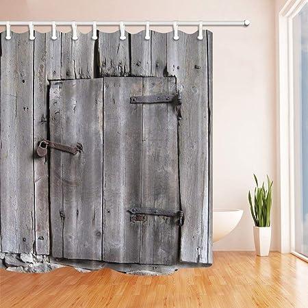 MMPTN - Cortina de ducha rústica para cuarto de baño, diseño retro de puerta de granero antigua