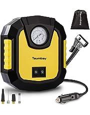 Tsumbay Compressore per Auto Portatile, Mini Aria Pompa DC 12V 150PSI con Luce d'Emergenza e Tre Diversi Ugelli per Gonfiare Le Gomme delle Moto e delle Auto, Palloni ECC
