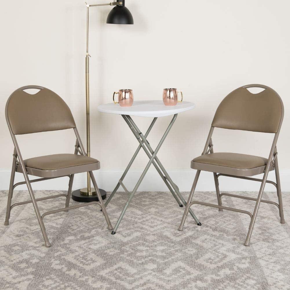 Flash Furniture HERCULES Series Ultra-Premium Triple Braced Beige Vinyl Metal Folding Chair with Easy-Carry Handle