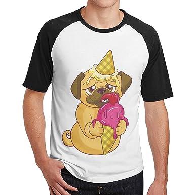 33316a5c03 Amazon.com: Chqeilng Oii Pug Dog Eat Ice Cream Classic Raglan Crew ...