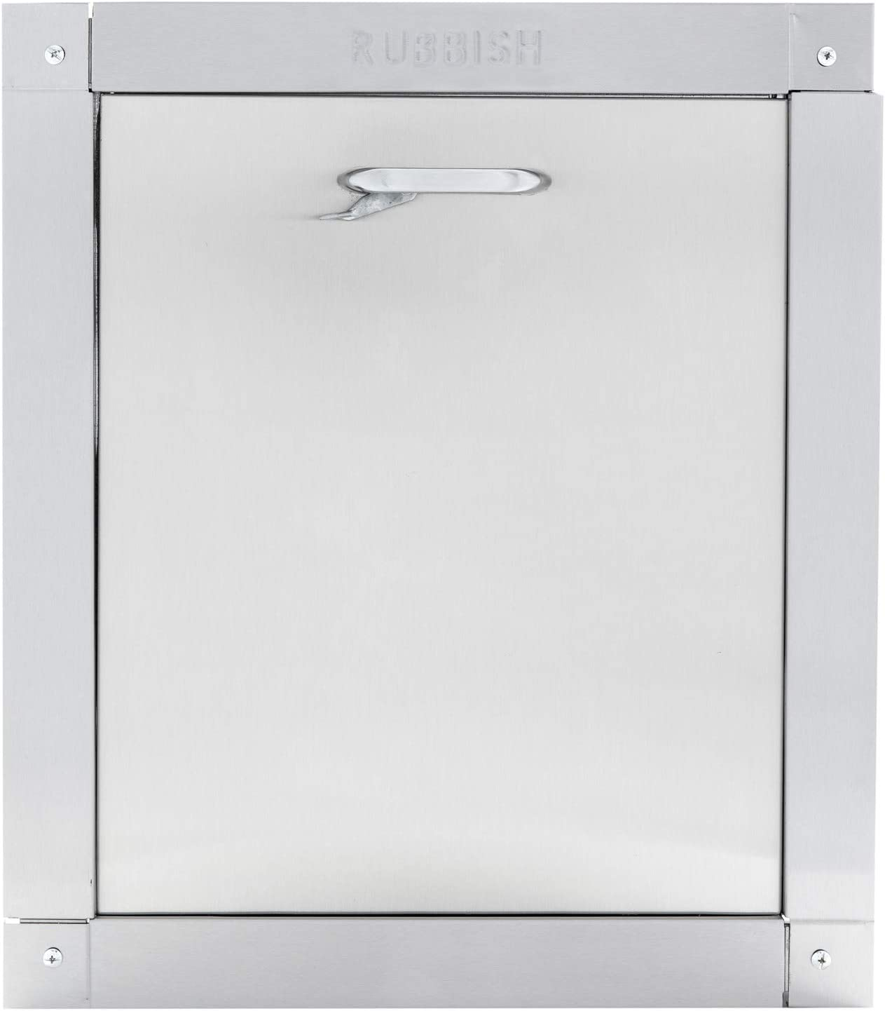 """Wilkinson Style Signature Series Stainless Steel Embossed Trash Chute Door - Noiseless Self Closing Bottom Hinged Fire Rated & UL Approved with Thumb Latch (15"""" X 18"""")"""
