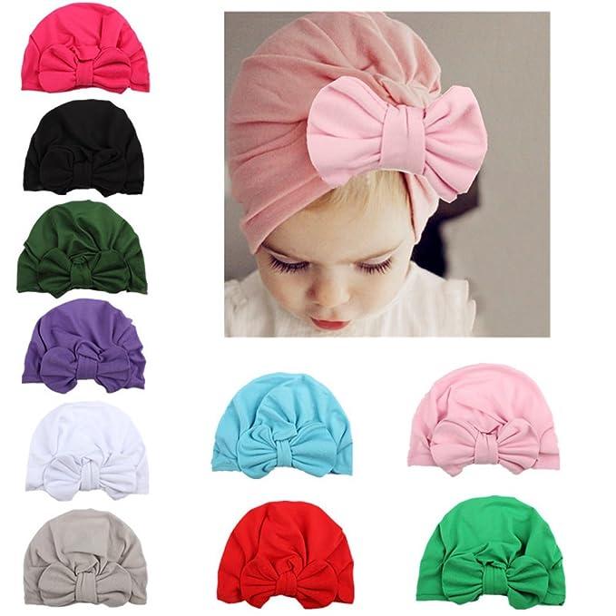 924ad749044 WZT 10 Pcs Newborn Elastic Sretch Head Wrap Infant Turban Toddler Baby Girl  Knot Headbands