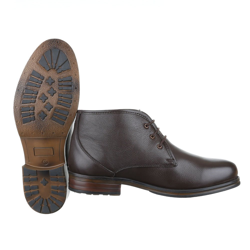 Ital-Design Stiefeletten Herren Leder Schuhe Chelsea Boots Boots Boots Blockabsatz Schnürer Schnürsenkel Boots Dunkelbraun 686727