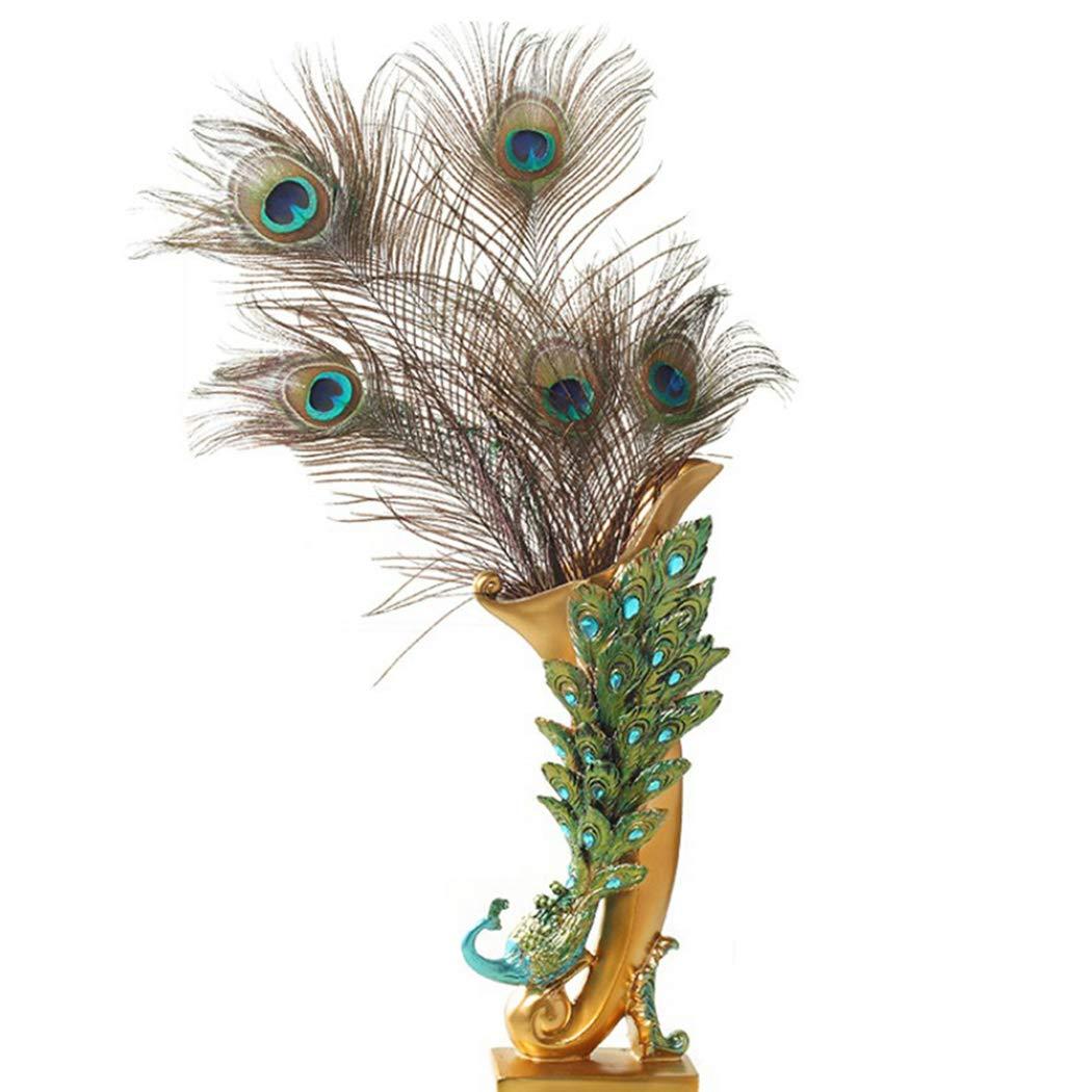 JUSTDOLIFE Flower Vase Resin Peacock Decorative Plant Vase for Home Decor