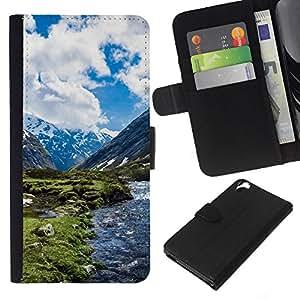 LECELL--Cuero de la tarjeta la carpeta del tirón Smartphone Slots Protección Holder For HTC Desire 820 -- Paisaje de la nieve de la montaña --