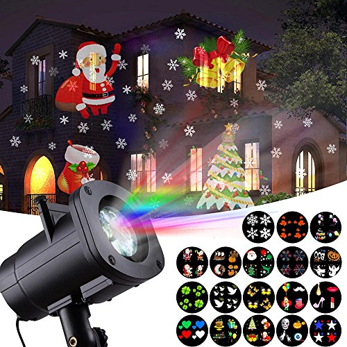 Christmas Lights, HONGGE LED Projector Light with 18 Switchable Patterns Waterproof Spotlight Night Light for Christmas, Indoor and Outdoor, Halloween, Party, Birthday, Holiday, -