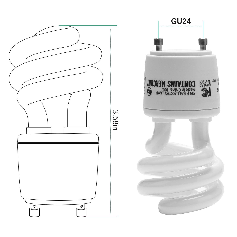 Gu24 CFL Light Bulbs JACKYLED 2-Pack UL T3 Spiral 13w Gu24 Base 120v 900lm Warm White 2700k Gu24 Fluorescent Light Bulbs Indoor Use