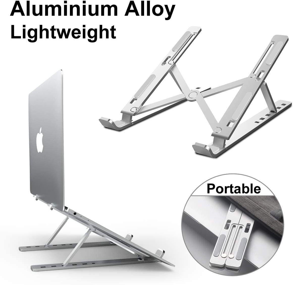 "Laptop Stand Adjustable, DOB SECHS Aluminum 6-Levels Height Foldable Portable Laptop Riser, Ergonomic Computer Stand, Ventilated Laptop Riser for MacBook, Notebook, Lenovo, Dell, More 10-15.6""Laptops"