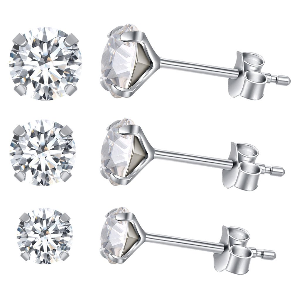 Yan & Lei Sterling Silver Ear Studs Set of 3 Pairs with White Round Rhinestone in 4 mm, 5mm and 6 mm