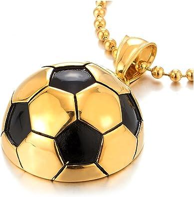 COOLSTEELANDBEYOND Collar con colgante de acero dorado y negro de ...