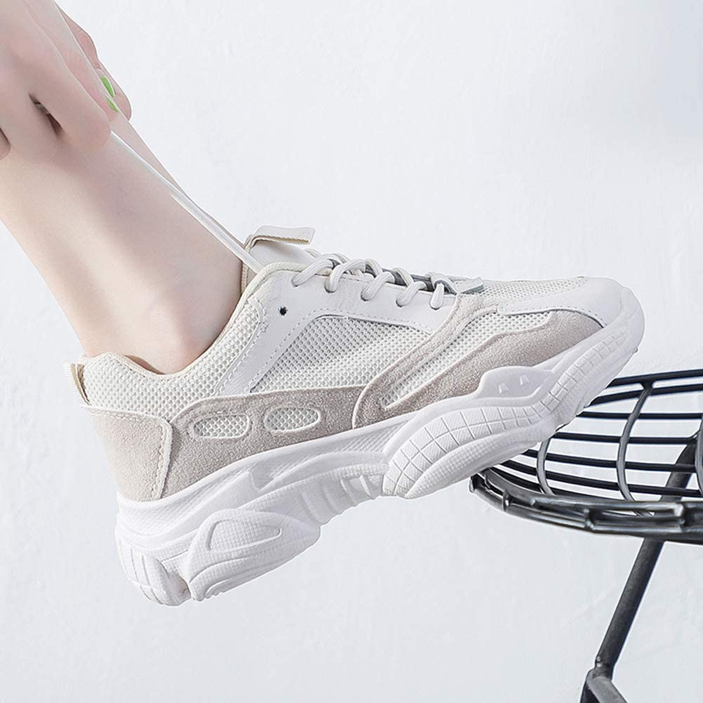 Mesh Running Shoes Women Lace-Up Sneakers,Breathable Sports Shoes Ladies Outdoor Lightweight Athletic Trainers Blanc