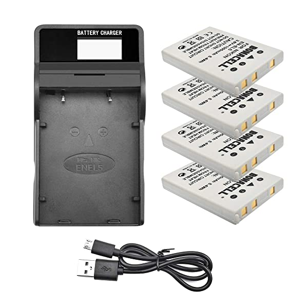 Bonacell 4 Pack Replacement Nikon EN-EL5 Battery and LCD Charger Kit for Nikon CoolPix 3700, 4200, 5200, 5900, 7900, P3, P4, P80, P90, P100, P500, P510, P520, P530, P5000, P5100, P6000, S10 (Color: White Black, Tamaño: 4Pack Battery 1 LCD Charger)