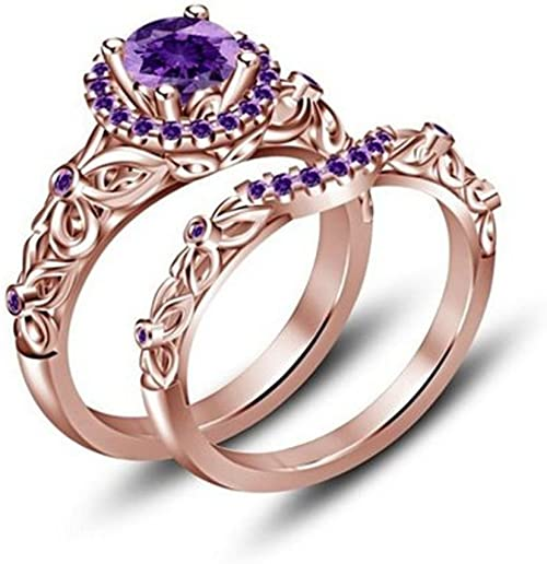 Amazon Com Tuskha Round Cut Purple Amethyst Bridal Disney