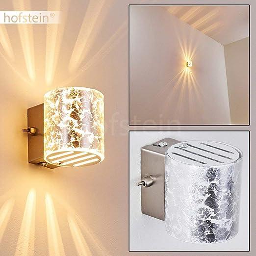 Lampada da parete Bamako con vetro colore argento Applique murale con effetto luce Up & Down Adatta a LED per salotto soggiorno camera da